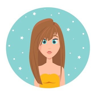 Avatar rudowłosej dziewczyny z długimi włosami i dużymi niebieskimi oczami, ilustracji wektorowych w stylu płaski.