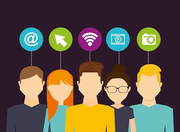 Avatars social media connection circle icons