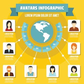 Avatary infografika koncepcja, płaski