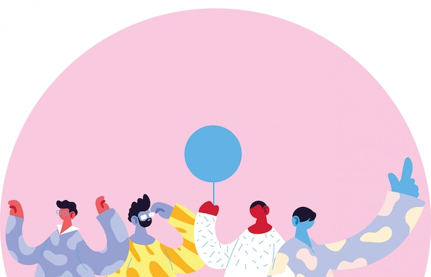 Avatary mężczyzn bajki z balonem wektor wzór