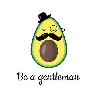 Avocado dżentelmen z kapeluszem i wąsem, wektorowa ilustracja