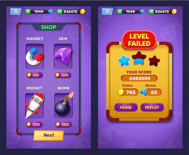 Awaria poziomu gry fantasy i ekran wyboru poziomu
