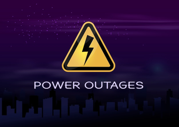 Awaria zasilania, logo na tle miasta bez prądu