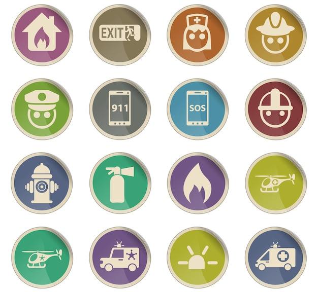 Awaryjne ikony wektorowe w postaci okrągłych etykiet papierowych