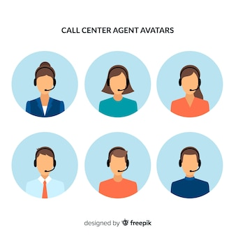 Awatar agenta call center z płaskim wzorem
