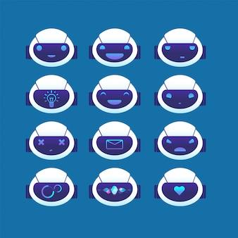 Awatar chatbot. czatuj głowę bota z różnymi emocjami i symbolami na twarzy. ai chatboty ustawione