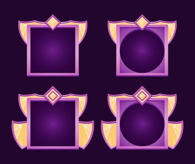 Awatar gry fantasy z interfejsem użytkownika i ramką z diamentowymi skrzydłami