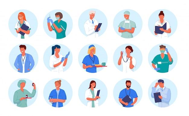 Awatar lekarza. portret postaci pracownika medycyny. lekarz i pielęgniarka okrągły zestaw awatarów na białym tle.