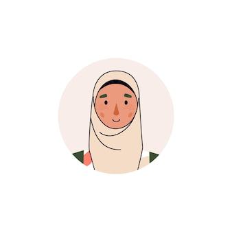 Awatar lub portret muzułmańskiej arabskiej kobiety biznesu lub postaci z kreskówki dziewczyna studentka w hidżabie