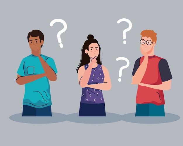 Awatar ludzi wyginający się z projektowaniem znaków zapytania, pomysłem na myślenie i motywem kreatywności wektor