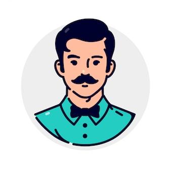 Awatar mężczyzny w muszce ze stylowym wąsem
