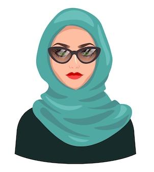 Awatar muzułmańskiej kobiety, na białym tle. młoda arabska dziewczyna jest ubranym hidżab i okulary przeciwsłoneczne. kreskówka portret kobiety, płaska ilustracja