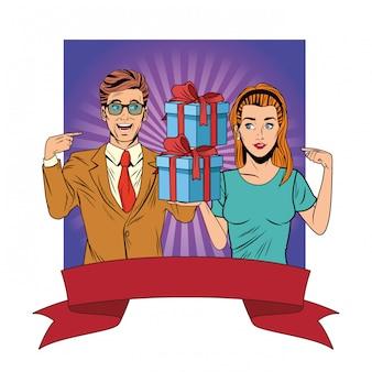 Awatar pary z pop-artu w pudełku prezentowym