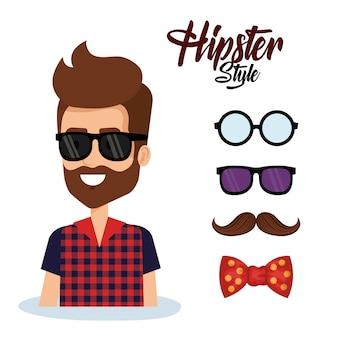 Awatar stylu hipster z akcesoriami
