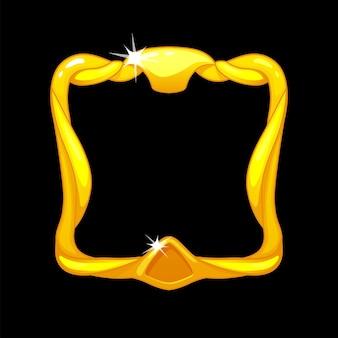 Awatar w złotej ramie, królewski kwadratowy szablon do interfejsu gry ui