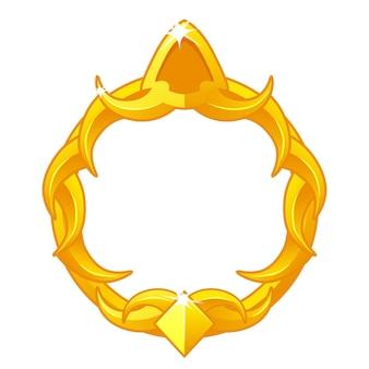 Awatar złotej ramki do gry, luksusowy okrągły szablon do interfejsu gry