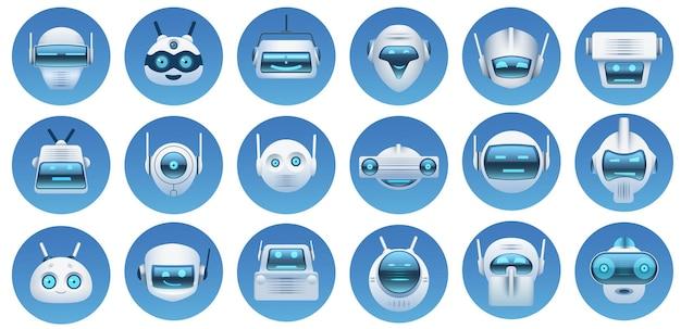 Awatary głowy robota. wirtualny asystent z kreskówek, twarze botów, logo robotów, emotikony i maskotki. futurystyczny android znaków ikony wektor zestaw. ilustracja wirtualny asystent, twarz emoji głowy robota