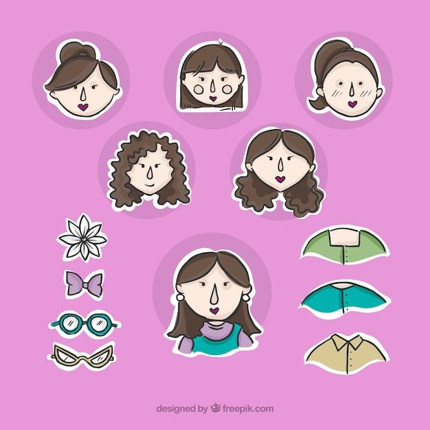 Awatary kobiety z akcesoriami etykiet