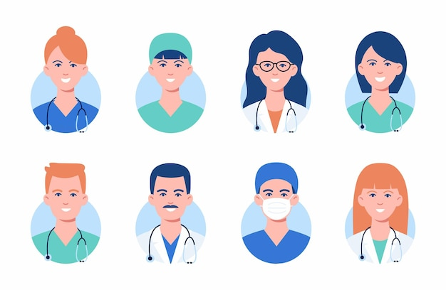 Awatary lekarzy i pielęgniarek w maskach medycznych. zestaw twarzy pracownika medycyny. awatary portfolio grupy mężczyzn i kobiet na białym tle. ilustracja. pojęcie opieki zdrowotnej. personel szpitala