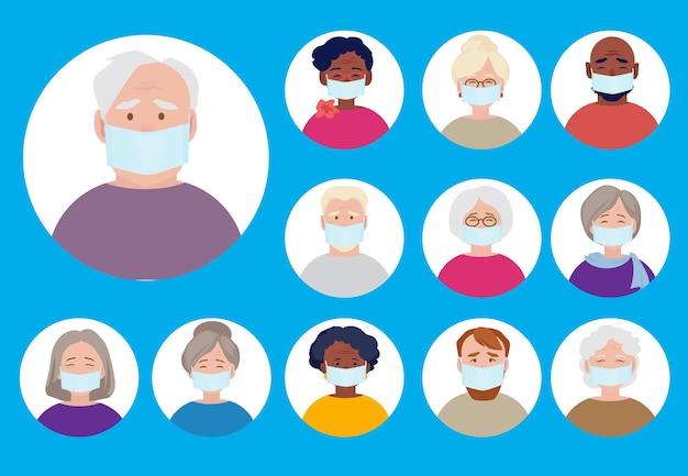 Awatary ludzi w maskach medycznych