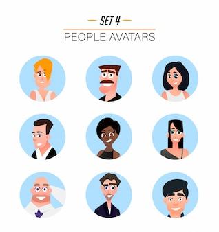 Awatary postaci w stylu płaskiej kreskówki.