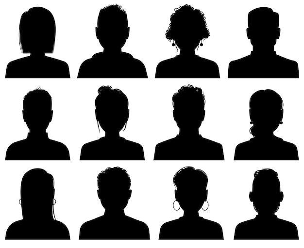 Awatary sylwetki. osoby o profilu zawodowym, anonimowe głowy. kobieta i mężczyzna twarze czarne portrety ikony, zestaw szablonów społecznych bez twarzy