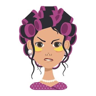 Awatary z różnymi emocjami. dziewczyna z różowymi lokówkami i żółtymi łatami. awatar mody w płaskiej grafice wektorowej