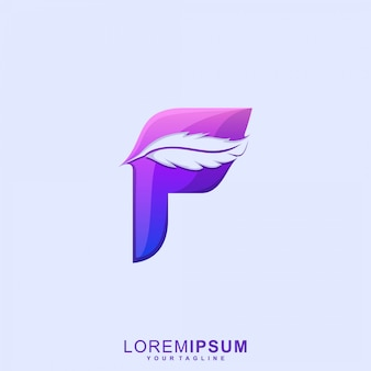 Awesome feather letter f premium logo