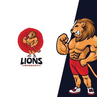 Awesome lions maskotka cartoon logo szablon nadaje się do maskotki sportowej