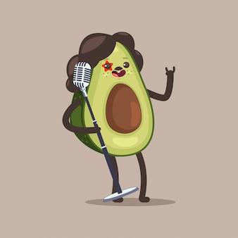 Awokado gwiazda rocka kreskówka zabawny owocowy charakter z mikrofonem na białym tle.