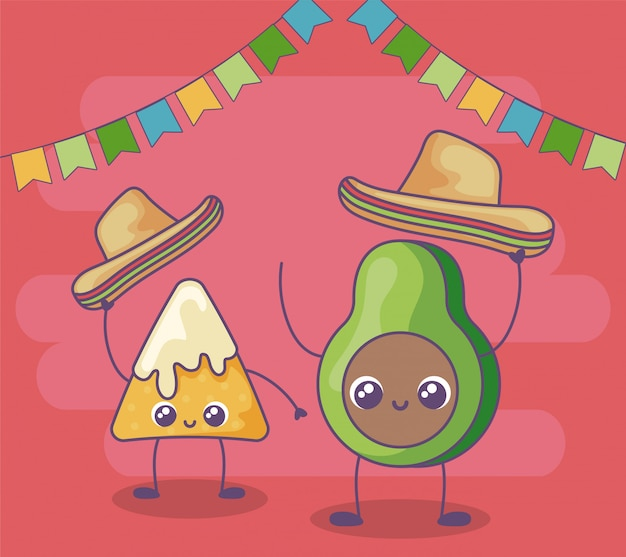 Awokado i nacho z meksykańską czapką kawaii