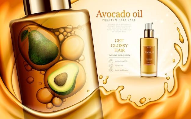 Awokado i olejek zawarte w buteleczkach kosmetycznych, ze złotymi elementami olejku