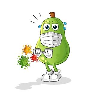 Awokado odmawia kreskówek wirusów. kreskówka maskotka wektor