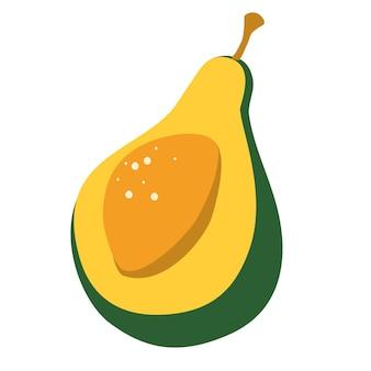 Awokado. połowa owoców. wegańskie jedzenie wektorowe ikony w stylu kreskówka.