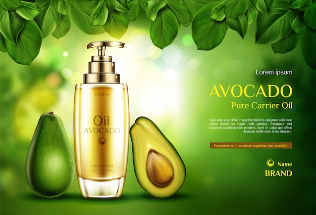 Awokado z olejkiem kosmetycznym. butelka produktu ekologicznego z pompą na zielono niewyraźne z liści drzewa.