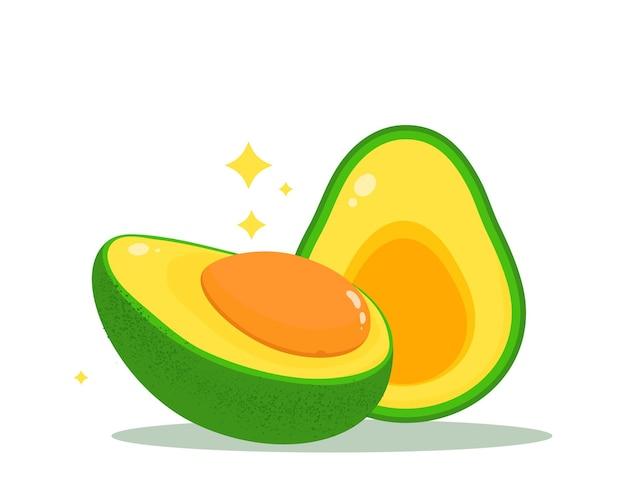 Awokado zdrowa żywność dieta owoce organiczne warzywa wektor ręcznie rysowane ilustracja kreskówka sztuka