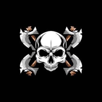 Ax skull ilustracja w wyciągnąć rękę