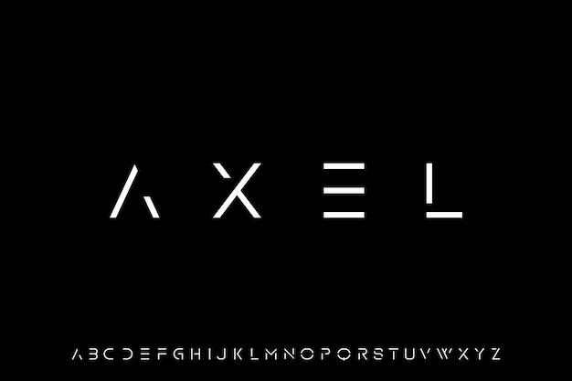 Axel, futurystyczna nowoczesna geometryczna czcionka