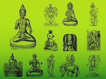 Azja hinduskich bogów sylwetki wektor