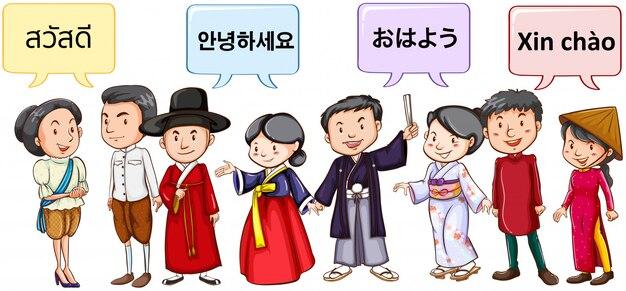 Azjaci witają w różnych językach