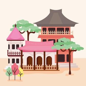Azjatycka architektura ulicy