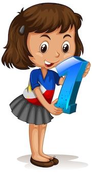 Azjatycka dziewczyna trzyma numer jeden matematyki