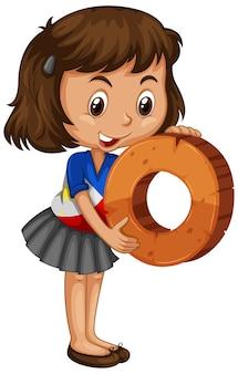 Azjatycka dziewczyna trzyma numer matematyki zero