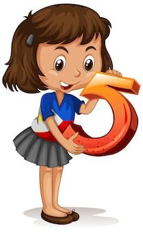 Azjatycka dziewczyna trzyma numer pięć matematyki