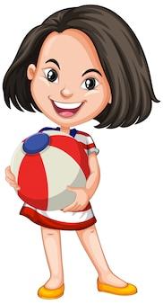 Azjatycka dziewczyna trzyma piłkę koloru