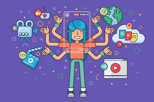 Azjatycka kobieta freelancer płaska ilustracja koncepcja. postać z kreskówki chińskiej dziewczyny tworzy transmisję online. narzędzia do tworzenia transmisji na żywo w mediach społecznościowych.