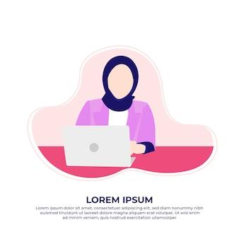 Azjatycka muzułmańska biznesowa kobieta korzystająca z laptopa pracującego w domu