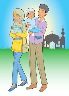 Azjatycka muzułmańska rodzina