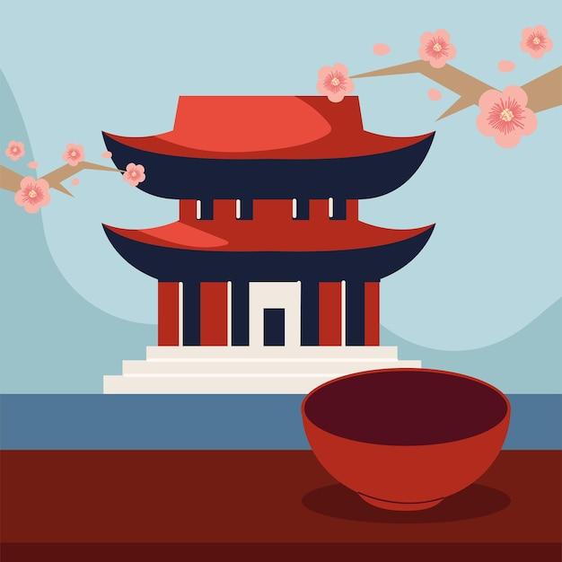 Azjatycka pagoda i kwiaty