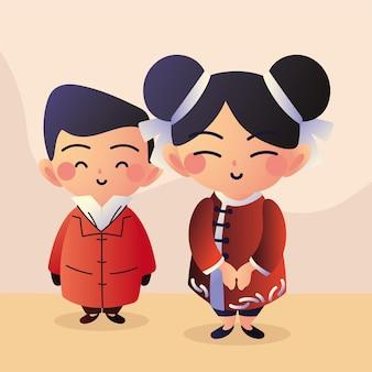 Azjatycka para uśmiechnięta